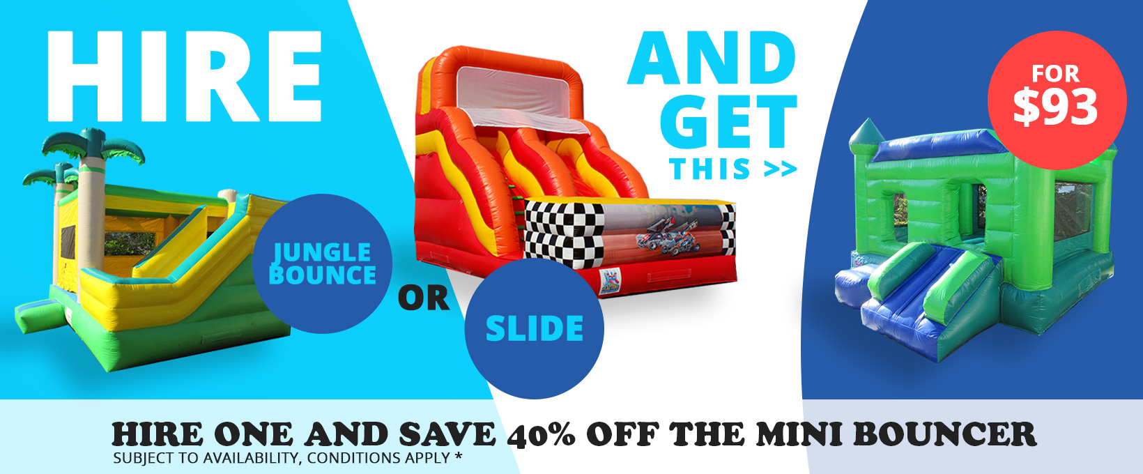 Rotorua Party Bouncy Castles - Hire Jungle Bounce or Slide and get Mini Bouncer for $93