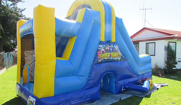 Tauranga Party Bouncy Castles - Blue and yellow Superhero Slide
